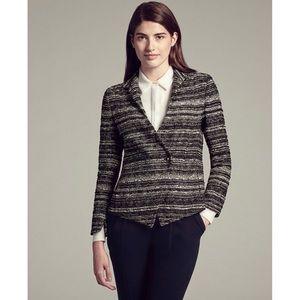 MM Lafleur Wells Tweed Jacket Blazer Black Size 8
